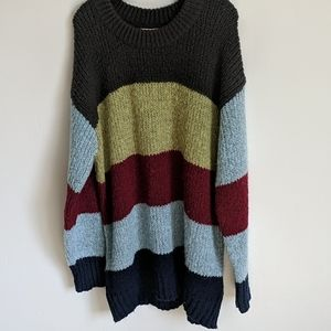 Black/olive/burgundy/blue sweater